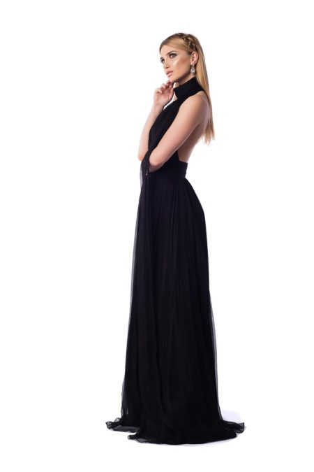 rochie matase bust fronsat esarfe milenial collection lateral