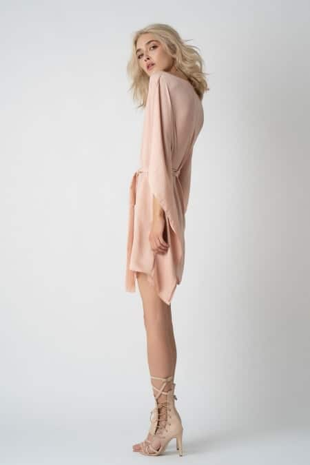 rochie scurta fluture roz pal lateral